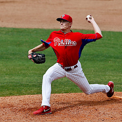 Mar 12, 2013; Clearwater, FL, USA; Philadelphia Phillies relief pitcher Jacob Diekman (63) throws against the Detroit Tigers during the top of the sixth inning of a spring training game at Bright House Field. Mandatory Credit: Derick E. Hingle-USA TODAY Sports
