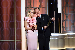 Jan 8, 2017 - Beverly Hills, California, U.S - Presenters CARRIE UNDERWOOD and STING on stage during the 74th Annual Golden Globe Awards at the Beverly Hilton in Beverly Hills, CA on Sunday, January 8, 2017. (Credit Image: ? HFPA/ZUMAPRESS.com)