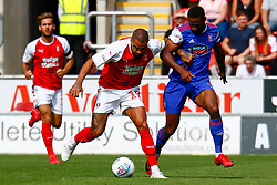 Kyle Vassell of Rotherham United and Janoi Donacien of Ipswich Town tussle for the ball - Mandatory by-line: Ryan Crockett/JMP - 11/08/2018 - FOOTBALL - Aesseal New York Stadium - Rotherham, England - Rotherham United v Ipswich Town - Sky Bet Championship