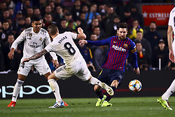 February 6, 2019 - Barcelona, Spain - TONI KROOS (C) and FC Barcelona's forward Lionel Messi (R)  during semifinal of spanish King Cup frist leg match between FC Barcelona and Real Madrid at  Nou Camp Stadium on February  6, 2019. (Credit Image: © Jose Miguel Fernandez/NurPhoto via ZUMA Press)