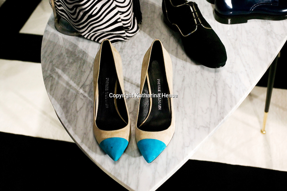 BEIJING, MAY-22 :  shoes are displayed in a small showroom being part of the Balmain spring/summer 2013 event.
