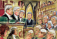 ©PRISCILLA COLEMAN ITV NEWS.SUPPLIED BY PHOTONEWS SERVICELTD 16.07.04.DRAWING SHOWS  THE CASE OF BILLIE JO JENKINS IN THE HIGH COURT LONDON.  SION JENKINS WON HIS APPEAL AGAINST THE MURDER OF BILLIE JO JENKINS AND HAS A RE-TRIAL .SEE STORY .ILLUSTRATION: PRISCILLA COLEMAN ITV NEWS