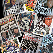 Trump Newspaper Headlines and  Political Buttons