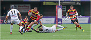 Carmarthen Quins' centre Josh Batcup leaves Merthyr defenders in his wake.<br /> <br /> Photographer: Dan Minto<br /> <br /> Indigo Welsh Premiership Rugby - Round 11- Merthyr RFC v Carmarthen Quins RFC - Saturday 21st December 2019 - Y Wern, Merthyr, South Wales, UK.<br /> <br /> World Copyright © Dan Minto Photography<br /> <br /> mail@danmintophotography.com <br /> www.danmintophotography.com
