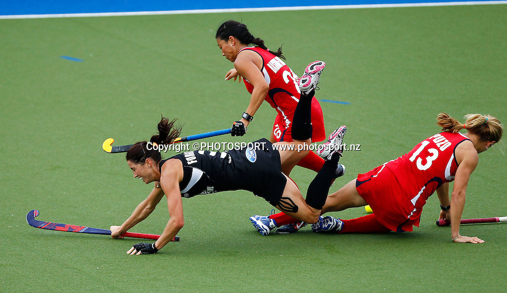 Krystal Forgesson hits the turf during the 4 Nations Hockey match, Blacksticks Women versus USA, Lloyd Elsmore Park, Auckland, Thursday 19 April 2012. Photo: Simon Watts / photosport.co.nz