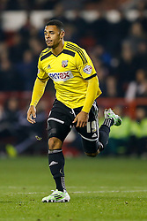 *CAPTION CORRECTION* Andre Gray of Brentford celebrates scoring a goal to make it 0-2 - Photo mandatory by-line: Rogan Thomson/JMP - 07966 386802 - 05/11/2014 - SPORT - FOOTBALL - Nottingham, England - City Ground - Nottingham Forest v Brentford - Sky Bet Championship.