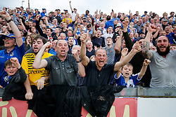 Bristol Rovers supporters celebrate after Lee Brown scores a goal in injury time to make it 2-1 and secure 3rd place in League 2, back to back promotions and a place in Sky Bet League 1 for 2016/17 - Mandatory byline: Rogan Thomson/JMP - 08/03/2016 - FOOTBALL - Memorial Stadium - Bristol, England - Bristol Rovers v Dagenham & Redbridge - Sky Bet League 2.