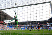 Omar Bogle (27) of Cardiff City shot at goal goes over the bar during the EFL Sky Bet Championship match between Cardiff City and Middlesbrough at the Cardiff City Stadium, Cardiff, Wales on 21 September 2019.
