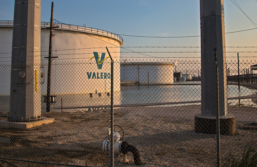 Valero's refinery in Port Arthur Texas, floodwater remains days after Hurricane Harvey.