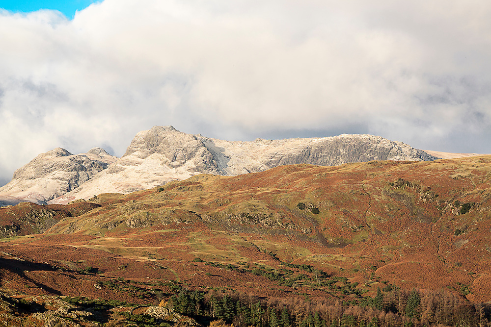 Early Morning Light on the snow dusted Langdale Pikes.
