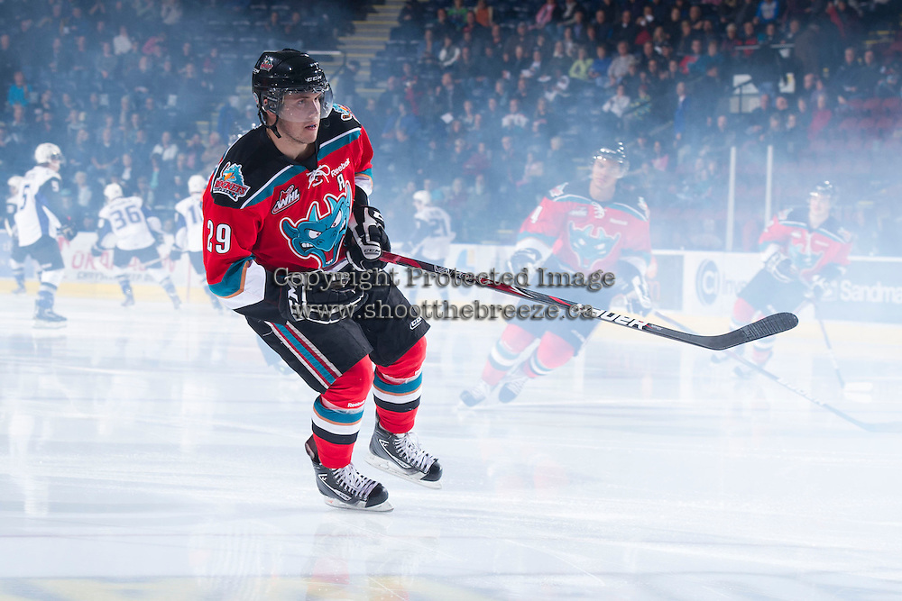 KELOWNA, CANADA - DECEMBER 5:  Myles Bell #29 of the Kelowna Rockets enters the ice against the Swift Current Broncos at the Kelowna Rockets on December 5, 2012 at Prospera Place in Kelowna, British Columbia, Canada (Photo by Marissa Baecker/Shoot the Breeze) *** Local Caption *** Myles Bell;