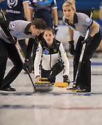 "Glasgow. SCOTLAND.  Russian vice skip, Uliana VASILEVA  during  the ""Round Robin"" Game.  Scotland vs Russia,  Le Gruyère European Curling Championships. 2016 Venue, Braehead  Scotland<br /> Thursday  24/11/2016<br /> <br /> [Mandatory Credit; Peter Spurrier/Intersport-images]"