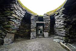 View of archeological site of ancient settlements at Jarlshof in Shetland, Scotland, UK