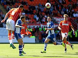 Lloyd Jones of Blackpool climbs on Ian Henderson of Rochdale to win a header - Mandatory byline: Matt McNulty/JMP - 07966386802 - 15/08/2015 - FOOTBALL - Bloomfield Road -Blackpool,England - Blackpool v Rochdale AFC - Sky Bet League One