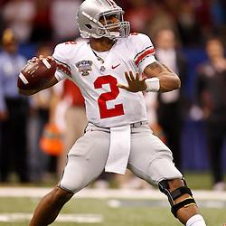 January 4, 2011; New Orleans, LA, USA;  Ohio State Buckeyes quarterback Terrelle Pryor (2) looks to pass during the first quarter of the 2011 Sugar Bowl against the Arkansas Razorbacks at the Louisiana Superdome.  Mandatory Credit: Derick E. Hingle