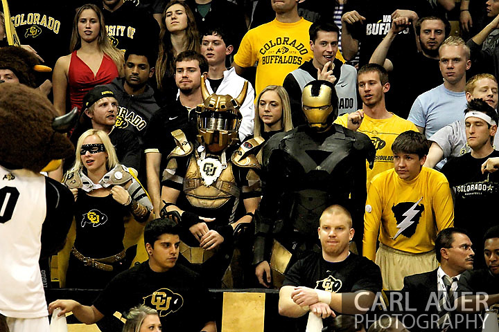 November 27, 2012: The CU Buffs student section is lead by the Super Buffs during the NCAA Basketball game between the Texas Southern Tigers and the Colorado Buffaloes at the Coors Event Center in Boulder Colorado