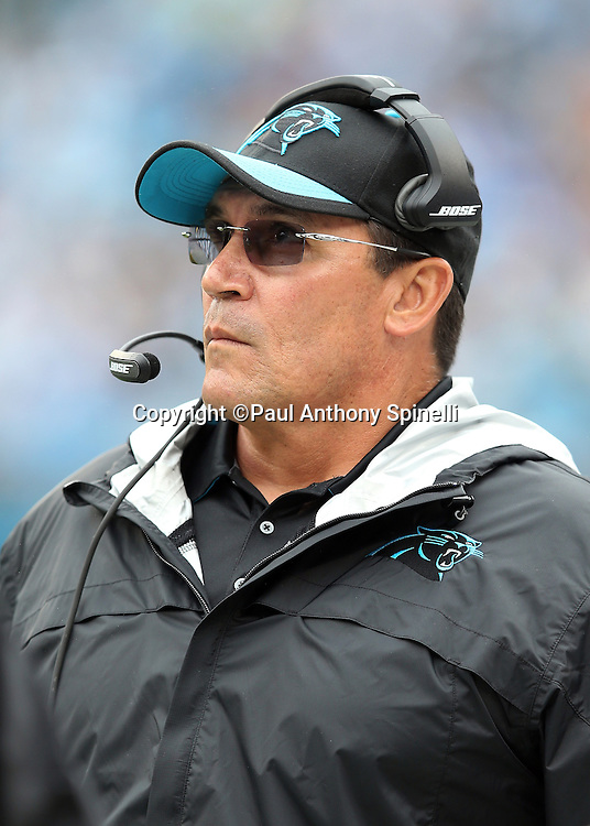 Carolina Panthers head coach Ron Rivera looks on from the sideline during the 2015 NFL week 3 regular season football game against the New Orleans Saints on Sunday, Sept. 27, 2015 in Charlotte, N.C. The Panthers won the game 27-22. (©Paul Anthony Spinelli)