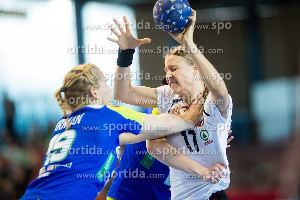 Neli Irman of Slovenia vs Nicole Dinkel of Switzerland during handball game between Women National Teams of Slovenia and Switzerland in 2014 Women's European Championship Qualification, on March 30, 2014 in Arena Kodeljevo, Ljubljana, Slovenia. Photo by Vid Ponikvar / Sportida