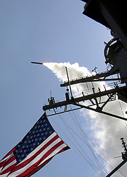 © Licensed to London News Pictures. 29/08/2013. File pic. Guided missile destroyer USS Porter (DDG 78) launches a Tomahawk Land Attack Missile (TLAM) toward Iraq during the initial stages of shock and awe, March 22, 2003. The USA and UK are currently considering military action in Syria following reports of chemical weapons being used on civilians. Photo credit U.S. Navy/LNP
