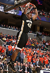Wake Forest guard L.D. Williams (42) slams a reverse dunk against UVA.  The Virginia Cavaliers fell to the #13 ranked Wake Forest Demon Deacons 70-60 at the John Paul Jones Arena on the Grounds of the University of Virginia in Charlottesville, VA on February 28, 2009.