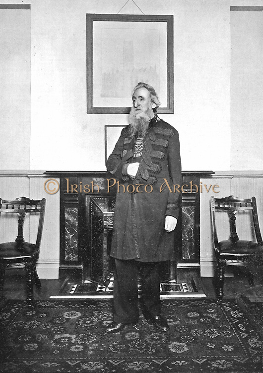 General' William Booth (1829-1912) Evangelical social worker, founder of the Salvation Army, photographed in the meeting room of the Army's headquarters in Queen Victoria Street, London. 1903.