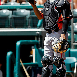 March 18, 2012; Lake Buena Vista, FL, USA; Baltimore Orioles catcher Ronny Paulino (28) against the Atlanta Braves during a spring training game at Disney Wide World of Sports complex. Mandatory Credit: Derick E. Hingle-US PRESSWIRE