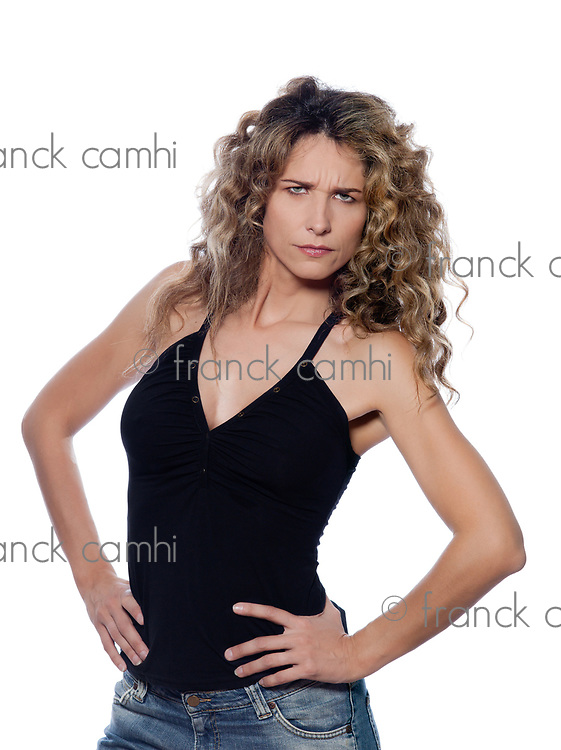 beautiful caucasian woman pucker upset portrait isolated studio on white background