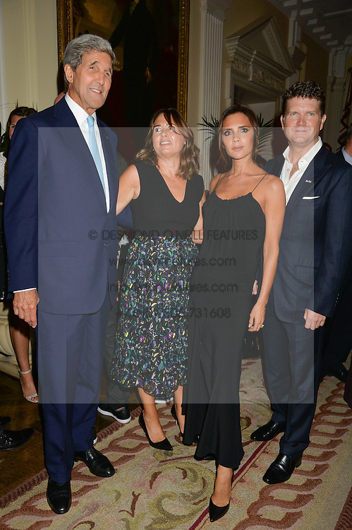 Left to right, US Secretary of State JOHN KERRY, ALEXANDRA SHULMAN, VICTORIA BECKHAM and US Ambassador MATTHEW BARZUN at a party to kick off London Fashion Week hosted by US Ambassador Matthew Barzun and Mrs Brooke Brown Barzun with Alexandra Shulman in association with J.Crew hrld at Winfield House, Regent's Park, London on 18th September 2015.