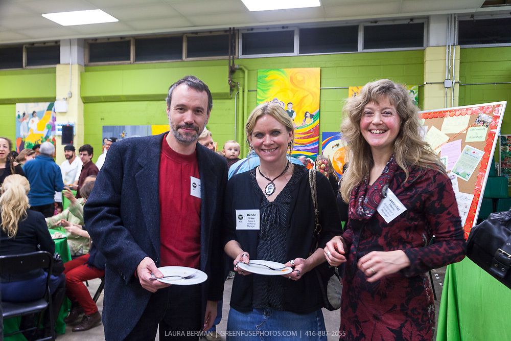"Between the Lines staff Matt Adams, Renée Knapp, and Jennifer Tiberio at the launch party of ""share"", FoodShare's 1st cookbook. Nov. 14, 2012"