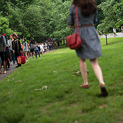 June 4, 2014 - New York, NY : People line up in Prospect Park to see Janelle Monáe perform as Celebrate Brooklyn! kicks off it's annual concert series in Prospect Park on Wednesday night.<br /> CREDIT: Karsten Moran for The New York Times