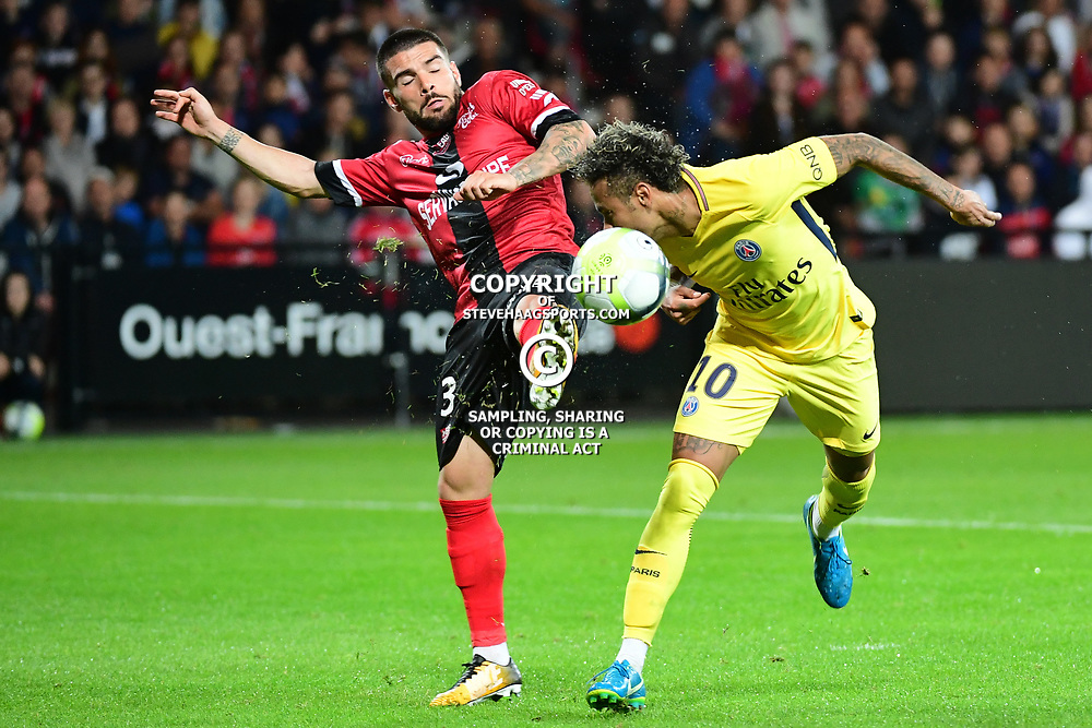 (R-L) Neymar JR of PSG and Pedro Rebocho of Guingamp during the Ligue 1 match between EA Guingamp and Paris Saint Germain at Stade du Roudourou on August 13, 2017 in Guingamp, . (Photo by Dave Winter/Icon Sport)