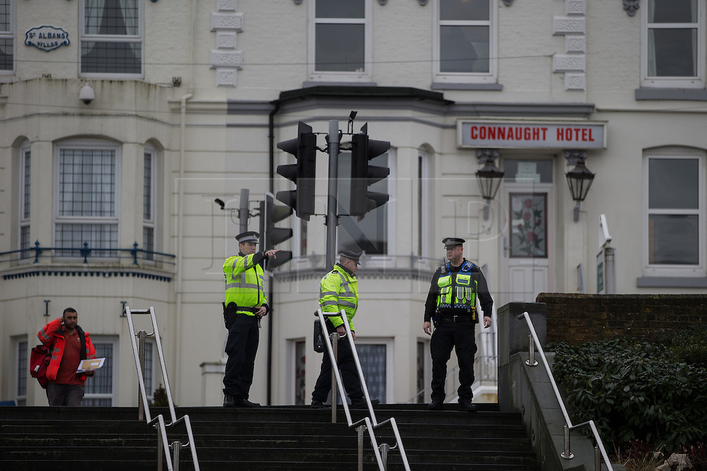 © Licensed to London News Pictures . 30/01/2016 . Dover , UK . Police searching land outside Dover Prior Station ahead of demonstrations by far-right groups (including The National Front , The North West Infidels and The South East Alliance ) and , opposing them , anti-fascists , close to the port of Dover in Kent . Photo credit : Joel Goodman/LNP