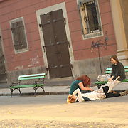 Young people in the street of Ljubljana, Slovenia.