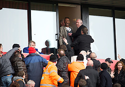 14.04.2013, Britannia Stadion, Stoke on Trent, ENG, Premier League, Stoke City vs Manchester United, 33. Runde, im Bild Executive box stewards hold back a supporter as Stoke City fans complain following Manchester United's second goal during the English Premier League 33th round match between Stoke City FC and Manchester United at the Britannia Stadium, Stoke on Trent, Great Britain on 2013/04/14. EXPA Pictures © 2013, PhotoCredit: EXPA/ Propagandaphoto/ David Rawcliffe..***** ATTENTION - OUT OF ENG, GBR, UK *****