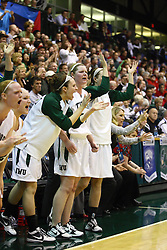 18 March 2011: The Titan bench reacts to a long 3 that makes its mark late in the 2nd half during an NCAA Womens basketball game between the Washington University Bears and the Illinois Wesleyan Titans at Shirk Center in Bloomington Illinois.