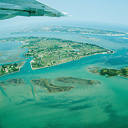 VENICE, ITALY - JULY 07:   An aerial view of Venice Sant'Erasmo island seen during the Seawing  tour above Venice on July 7, 2011 in Venice, Italy. Seawings has started a new tour of Venice by seaplane, offering aerial views of the Venetian Lagoon and its historic islands, continuing a long history of seaplanes in Venice.