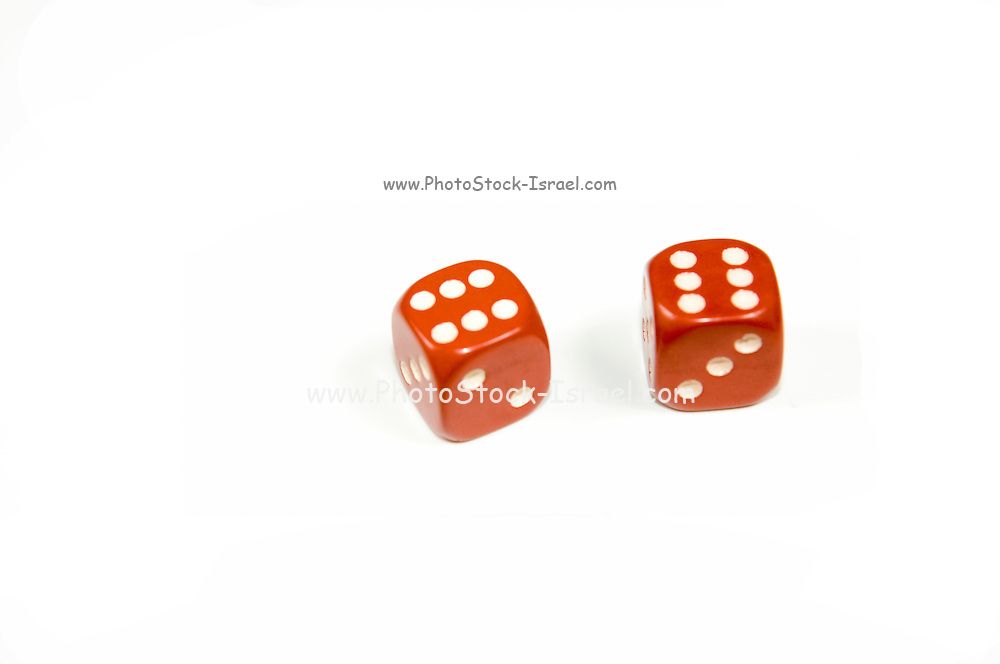 Two red dice double six on white background the probability of this outcome is 1 in 36