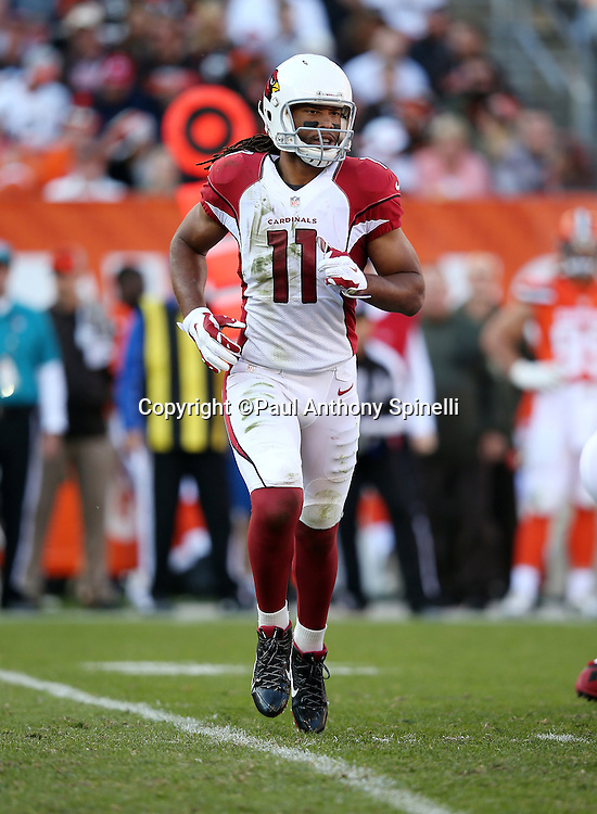 Arizona Cardinals wide receiver Larry Fitzgerald (11) in motion during the 2015 week 8 regular season NFL football game against the Cleveland Browns on Sunday, Nov. 1, 2015 in Cleveland. The Cardinals won the game 34-20. (©Paul Anthony Spinelli)