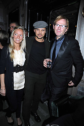 Left to right, MARTHA WARD, GERRY DE VEAUX and DAVID COLLINS at a party for Yves Saint Laurent's Creative Director Stefano Pilati given by Colin McDowell held at The Connaught Bar, The Connaught, Mount Street, London on 29th October 2008.