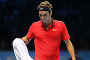 Switzerland's Roger Federer during the Semi Final of Barclays ATP World Tour 2014 between Switzerland's Roger Federer and Switzerland's Stan Wawrinka, O2 Arena, London, United Kingdom on 15th November 2014 © Pro Sports Images