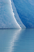 Detail of an iceberg in Lago Argentino, Patagonia. Most icebergs in the lake form by calving from the Upsala Glacier, in Los Glaciares National Park, Argentina.