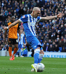 Brighton and Hove Albion's Bruno Saltor scores his sides goal  - Photo mandatory by-line: Harry Trump/JMP - Mobile: 07966 386802 - 14/03/15 - SPORT - Football - Sky Bet Championship - Brighton v Wolves - Amex Stadium, Brighton, England.