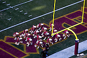 Aerial view of the Washington Redskins Cheerleaders  at the Fed Ex Field during the Redskins vs Eagles Game on December 11, 2007 at Fed Ex Field in Landover, Maryland. ([Julia Robertson] / via AP Images)
