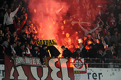 18.03.2012, AWD Arena, Hannover, GER, Hannover 96 vs 1. FC Koeln, 26. Spieltag, im Bild Feuer/ Rauch/ Bengalo / Bengalos / zuenden Feuerwerk / Rauchbombe. Koelner Fans zuenden Feuerwerk // during the German 'Bundesliga' Match, 26th Round, between Hannover 96 and 1. FC Koeln at the AWD Arena, Hannover, Germany on 2012/03/18. EXPA Pictures © 2012, PhotoCredit: EXPA/ Eibner/ Titgemeyer     ATTENTION - OUT OF GER *****