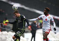 Joe Partington of Bristol Rovers takes on Ike Ugbo of Milton Keynes Dons - Mandatory by-line: Robbie Stephenson/JMP - 03/03/2018 - FOOTBALL - Stadium MK - Milton Keynes, England - Milton Keynes Dons v Bristol Rovers - Sky Bet League One
