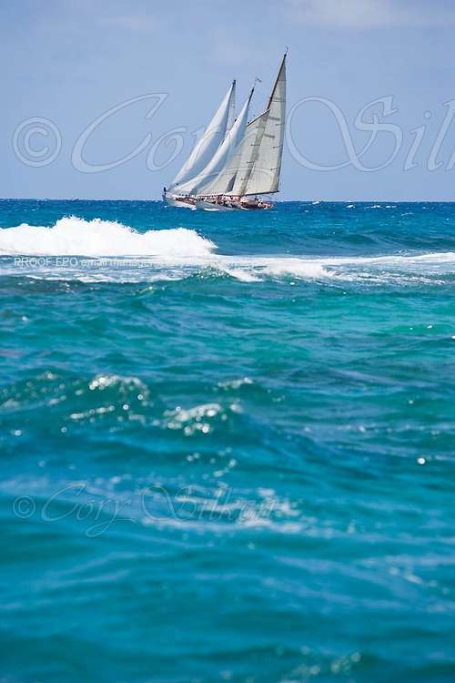 Juno and Lone Fox sailing in the 2010 Antigua Classic Yacht Regatta, Windward Race, day 4.