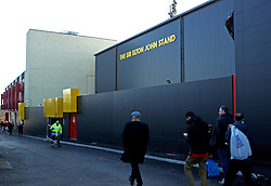 Fans walk outside The Sir Elton John Stand at Vicarage Road, home of Watford FC - Mandatory byline: Robbie Stephenson/JMP - 07966 386802 - 28/12/2015 - FOOTBALL - Vicarage Road - Watford, England - Watford v Tottenham Hotspur - Barclays Premier League