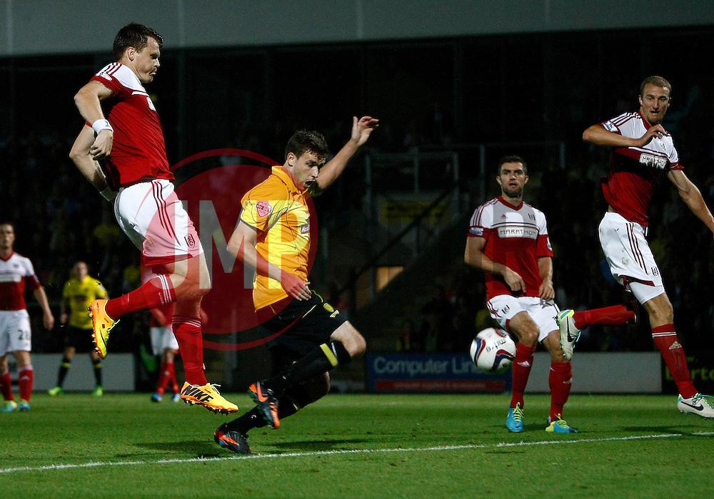 Burton Albion's Michael Symes has this goal disallowed - Photo mandatory by-line: Matt Bunn/JMP - Tel: Mobile: 07966 386802 27/08/2013 - SPORT - FOOTBALL - Pirelli Stadium - Burton - Burton Albion V Fulham -  Capital One Cup - Round 2