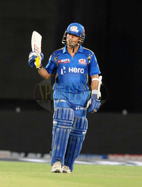Sachin Tendulkar of Mumbai Indians celebrates after scoring a half century during match 72 of the Indian Premier League ( IPL) 2012  between The Rajasthan Royals and the Mumbai Indians  held at the Sawai Mansingh Stadium in Jaipur on the 20th May2012..Photo by Pal Pillai/IPL/SPORTZPICS