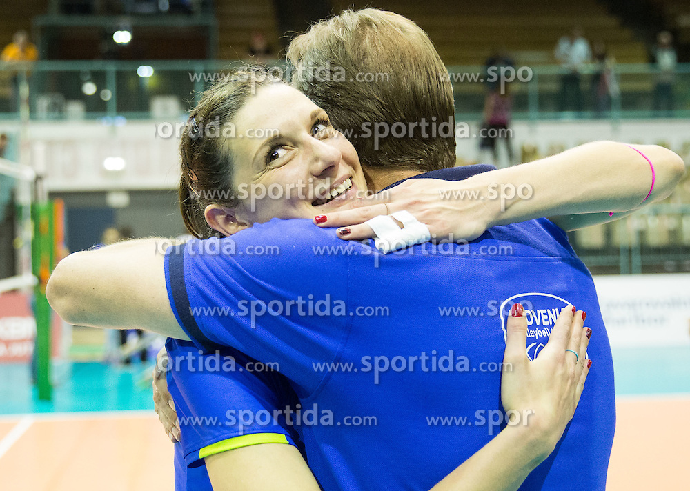 Marina Cvetanovic of Slovenia and Metod Ropret, president of OZS  celebrate after Slovenia qualify for 2015 CEV Volleyball European Championship - Women during volleyball match between National Teams of Slovenia and France, on May 29, 2015 in Arena Tabor, Maribor, Slovenia. Photo by Vid Ponikvar / Sportida